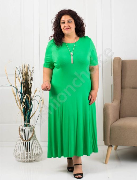 Разкроена макси рокля в приятно зелено+подарък нежно бижу-код 535-6