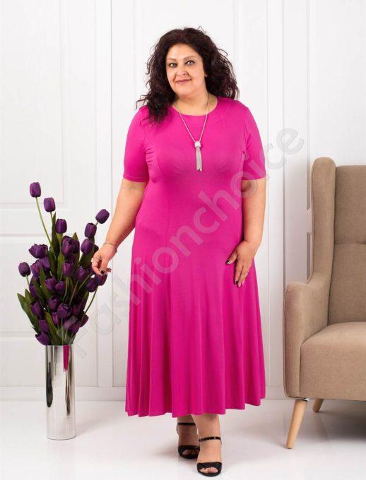 Разкроена макси рокля в циклама+подарък нежно бижу-код 535-7