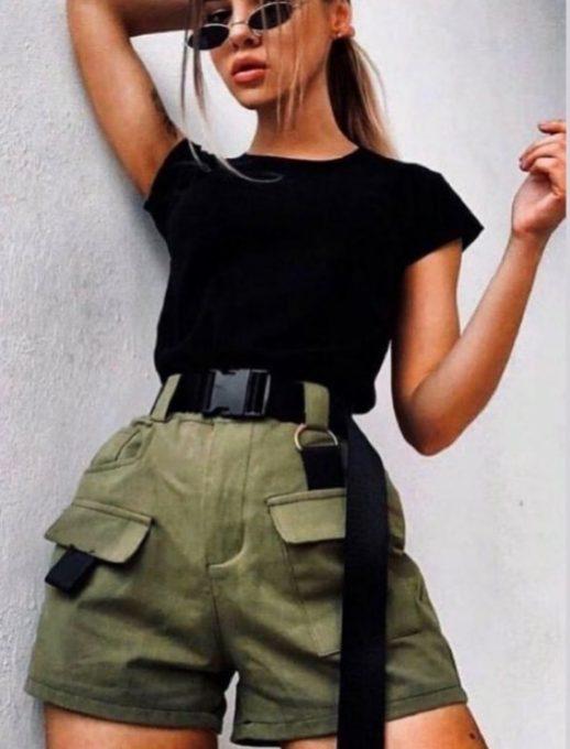 Къси панталонки с висока талия в цвят каки-код 947-2