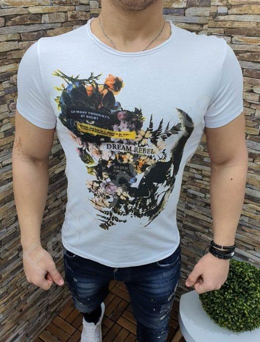 Мъжка тениска DREAM REBEL в бяло-Код 220