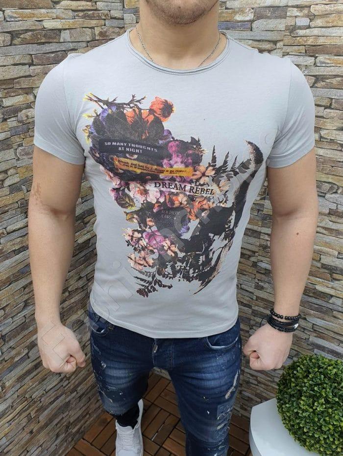 Мъжка тениска DREAM REBEL в сиво-Код 220-1