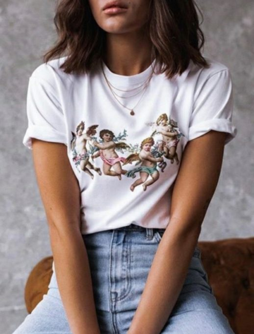 Дамска блуза с щампа ангелчета в бяло-код 201-3