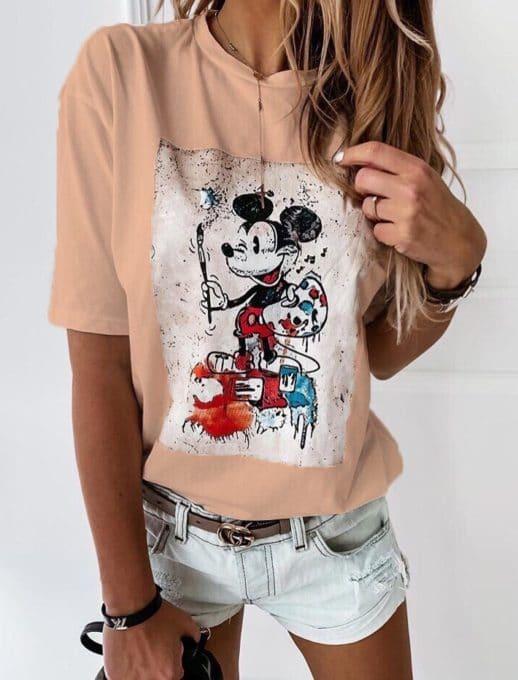 Дамска блуза в цвят пудра с щампа Мики Маус-код 201