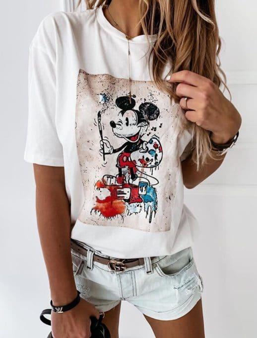 Дамска блуза в бяло с щампа Мики Маус-код 201-2
