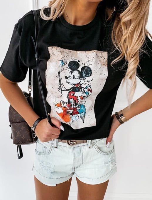 Дамска блуза в черно с щампа Мики Маус-код 201-1