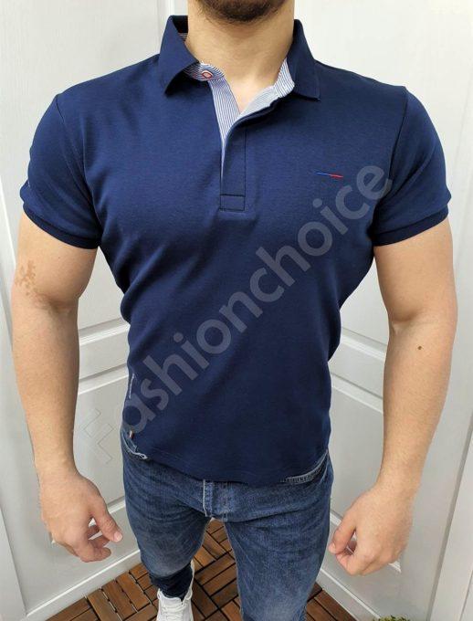 Изчистена мъжка блуза с якичка в тъмносиньо-код 7750-3