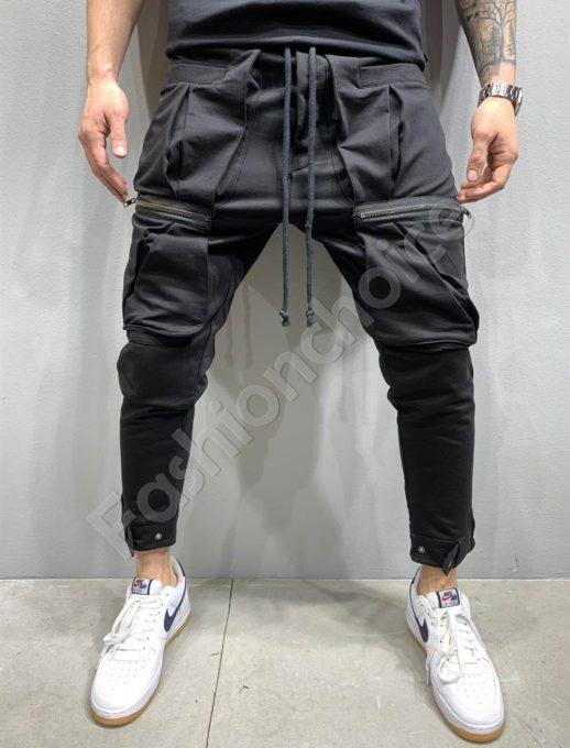 Мъжко долнище в черно с метални ципове-код 5151