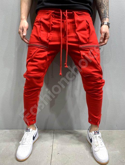 Мъжко долнище в червено с метални ципове-код 5151-1