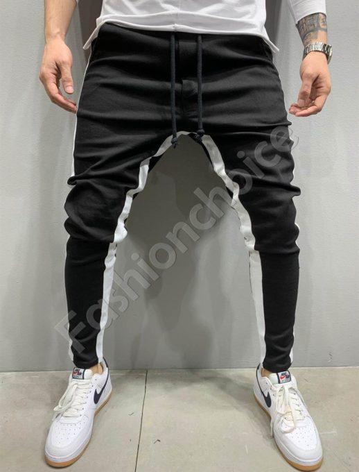 Мъжки спортен панталон в черно с бял кант-код 5222