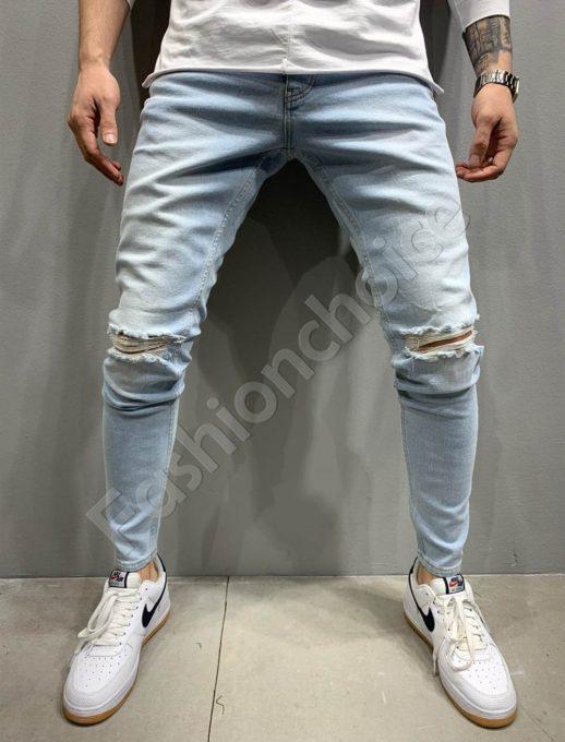 Мъжки дънки Slim fit в светъл деним-код 5203