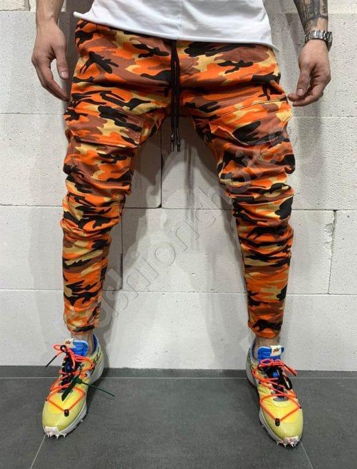Мъжки камуфлажни дънки в цвят оранж-код 5094