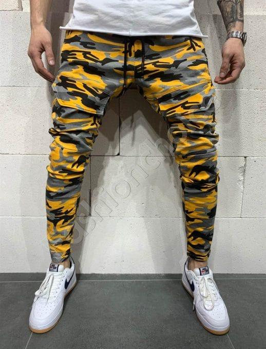 Мъжки камуфлажни дънки в жълто-код 5095
