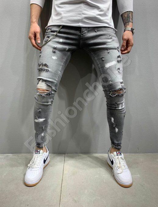 Мъжки дънки Skinny fit с надран ефект в сиво-код 5188