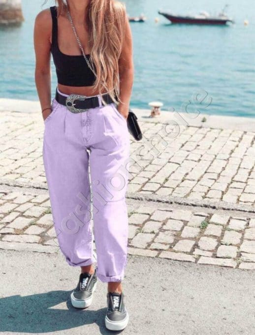Дамски модерни дънки с висока талия в бледо лилаво-код 2908-2