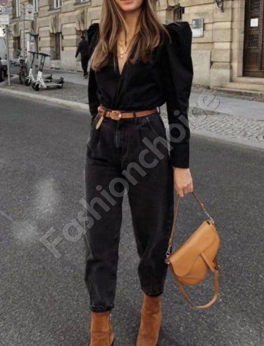 Дамски модерни дънки с висока талия в черно-код 2908
