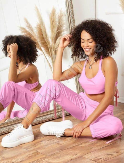 Комплект от къс топ и спортен панталон в розово-код 1466-1