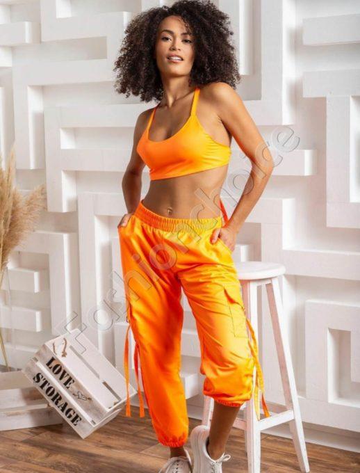 Комплект от къс топ и спортен панталон в оранж-код 1466-2