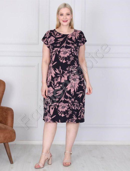 Нежна дамска макси рокля в черно с розови цветя-код 944-2