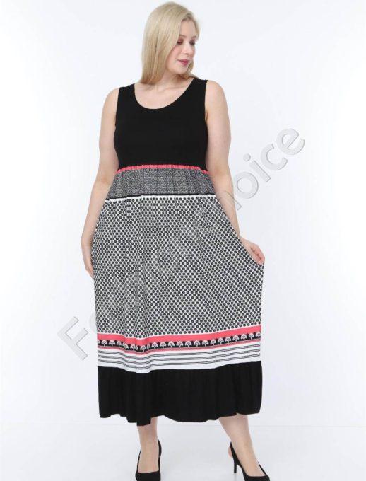 Лятна макси рокля в черно с нежни мотиви-код 944-6