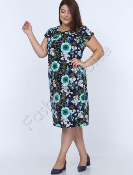 Нежна макси рокля в черно с очарователни маргаритки-код 944-3