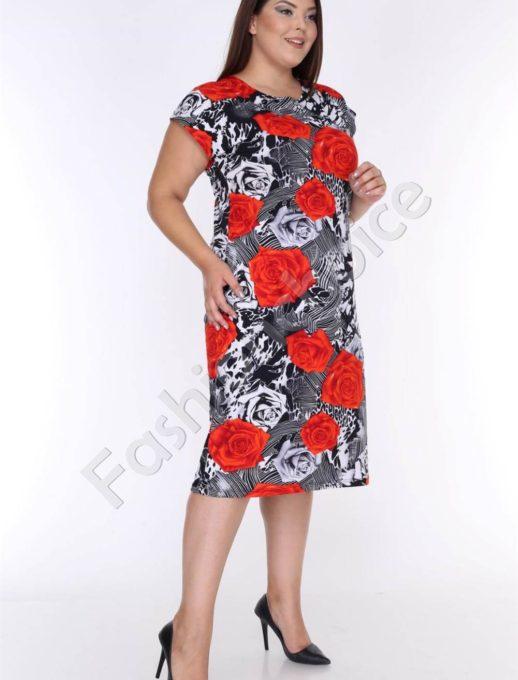 Нежна макси рокля в черно с разкошни червени рози-код 944-5