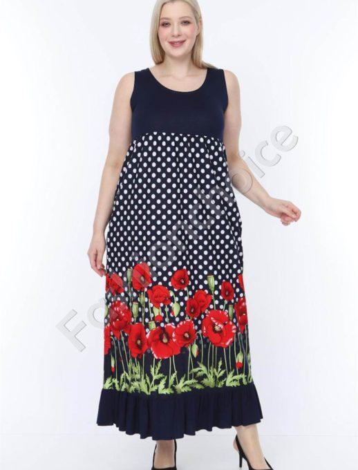 Лятна макси рокля в черно с нежни червени макове-код 944-7