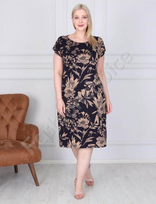 Нежна дамска макси рокля в черно с бежови цветя-код 944-1