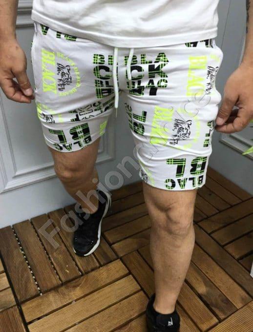 Мъжки къси панталони с надписи в бяло и зелено-код 9206-2