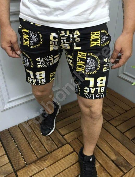 Мъжки къси панталони с надписи в черно и жълто-код 9206-1