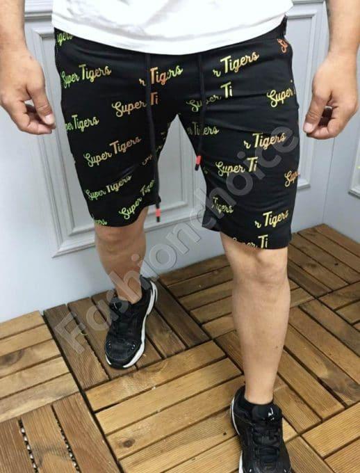 Мъжки къси панталони с надпис SUPER TIGERS в черно-код 9198