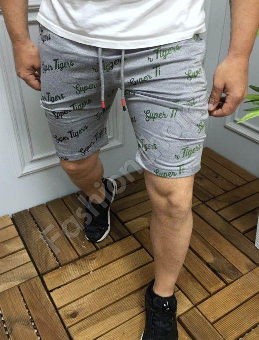 Мъжки къси панталони с надпис SUPER TIGERS в сиво-код 9198-1