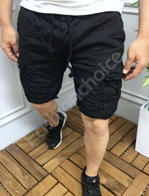 Мъжки къси карго панталони в черно-код 336