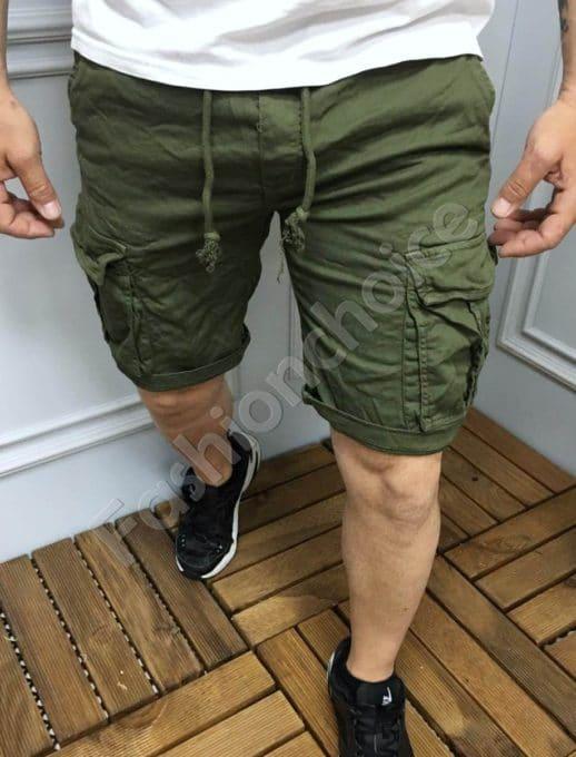 Мъжки къси карго панталони в цвят каки-код 336-1