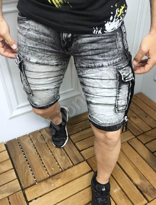 Черни къси дънки с джобове в черно-код 7519