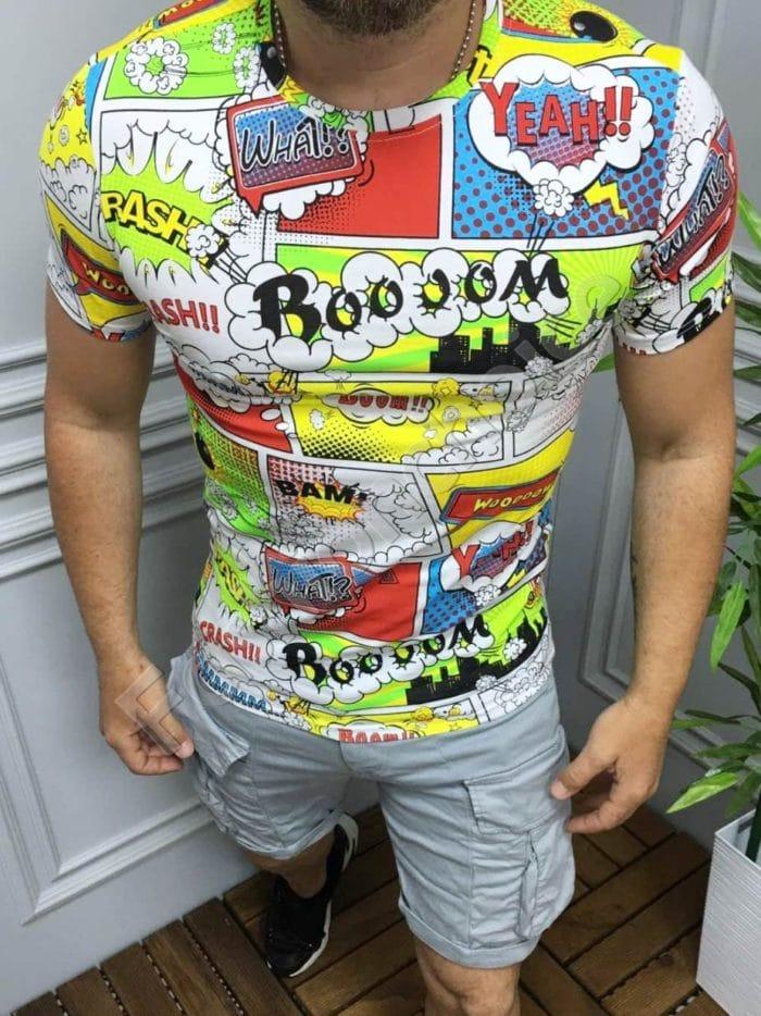 Свежа мъжка тениска с щампа комикс в бяло-код 123