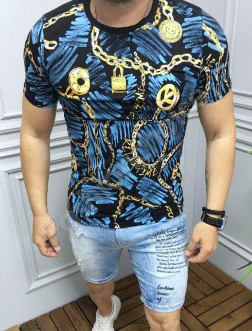 Мъжка тениска с ефектен десен в синьо-код 533