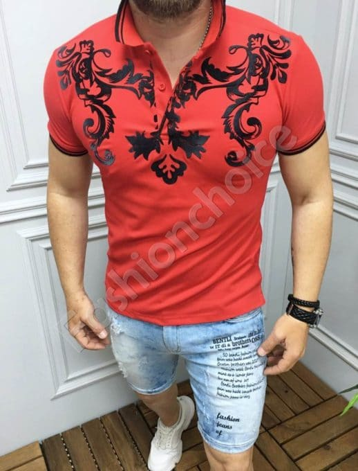 Мъжка блуза с якичка и цветни орнаменти в червено-код 8029-1