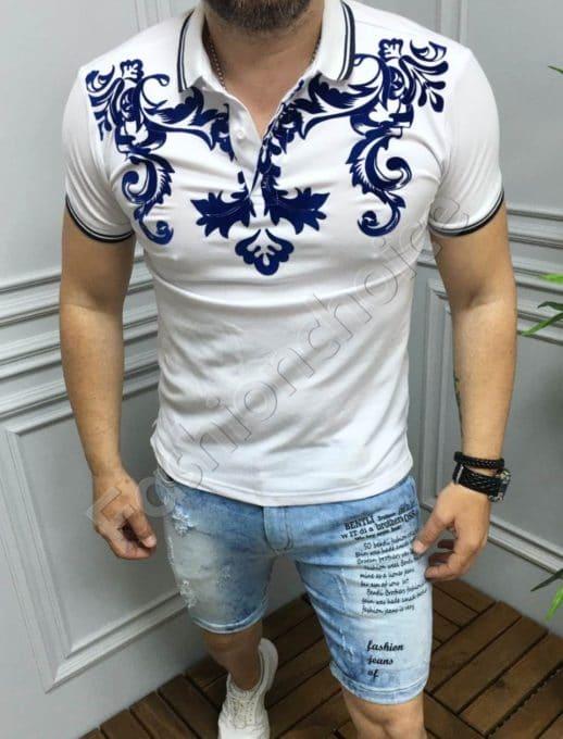 Мъжка блуза с якичка и цветни орнаменти в бяло-код 8029