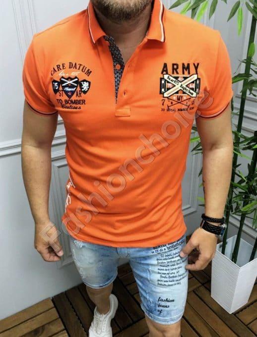 Мъжка блуза с якичка и бродерия в оранжево-код 5266