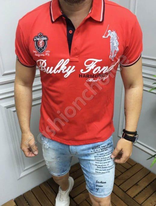 Мъжка блуза с якичка и надпис в червено-код 5259-2
