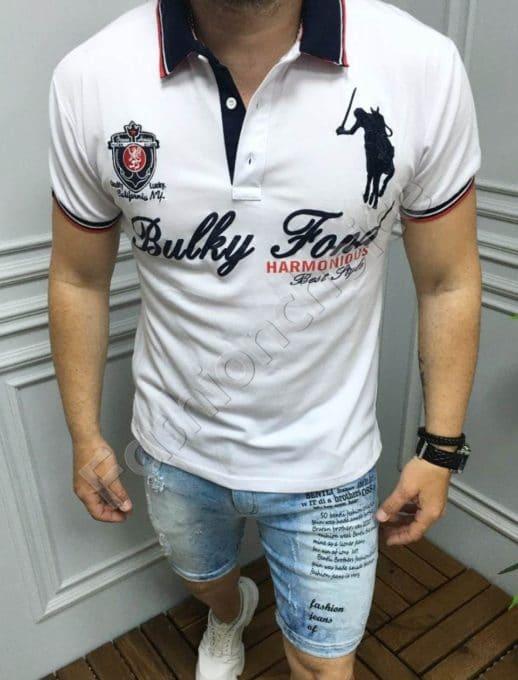 Мъжка блуза с якичка и надпис в бяло-код 5259