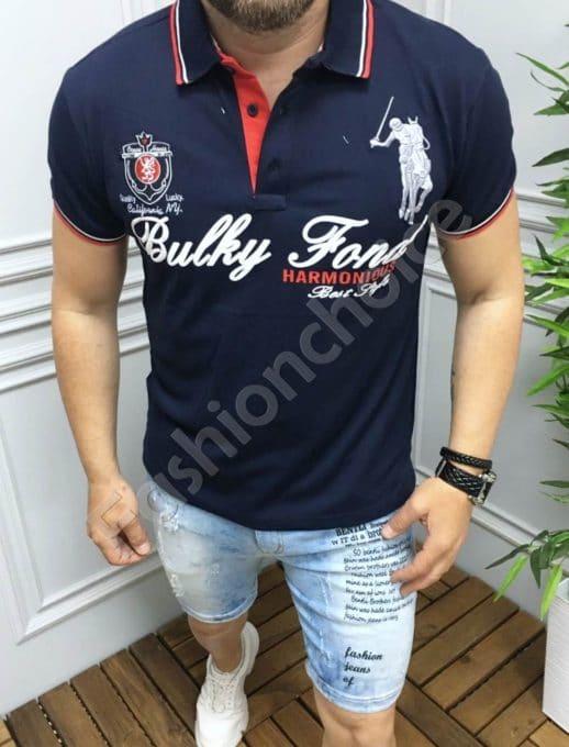 Мъжка блуза с якичка и надпис в тъмносиньо-код 5259-3