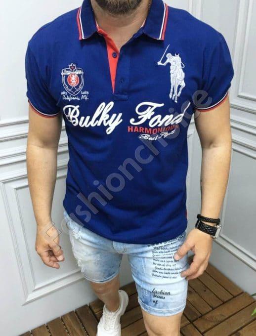 Мъжка блуза с якичка и надпис в цвят парламент-код 5259-1