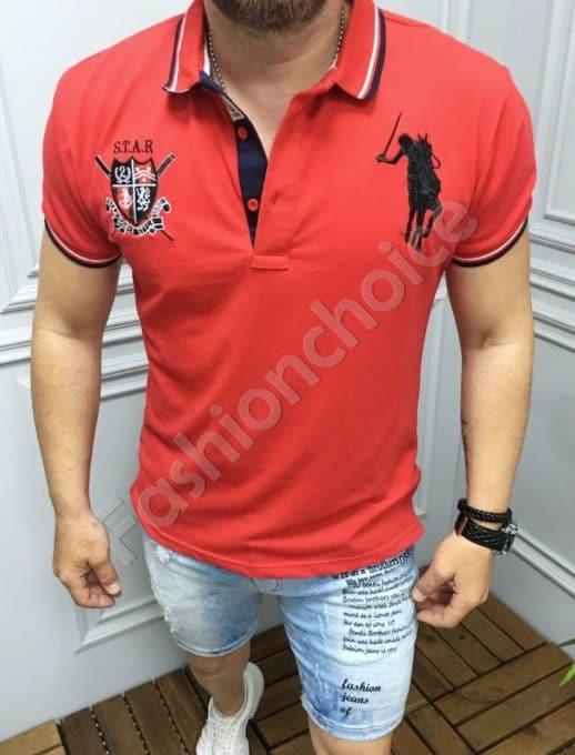 Мъжка блуза с якичка и бродерия в червено-код 8068