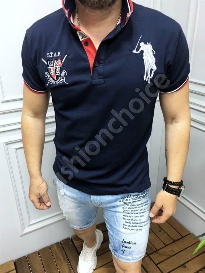 Мъжка блуза с якичка и бродерия в тъмносиньо-код 8068-2