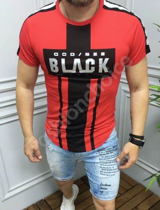 Мъжка тениска с надпис BLACK в червено-код 3303