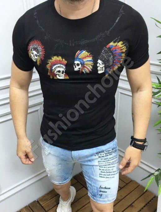 Мъжка тениска с интересни мотиви и камъчета в черно-код 516