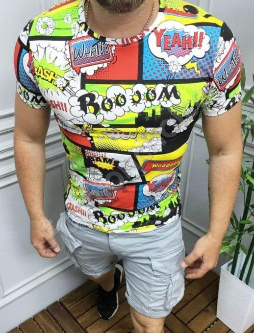 Свежа мъжка тениска с щампа комикс в черно-код 123-1