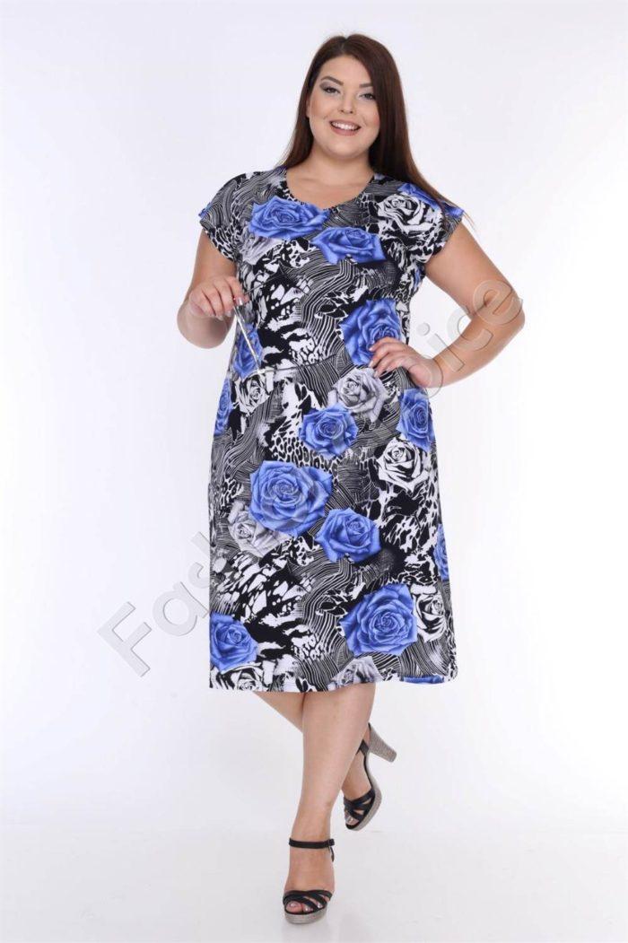 Нежна макси рокля в черно с прелестни сини рози-код 944-4