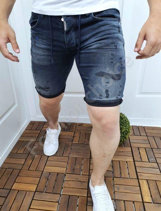 Мъжки къси дънки с надран ефект в тъмен деним-код 2431